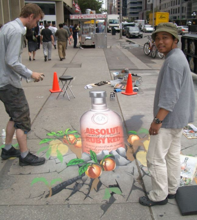 Absolut Vodka - Young and Bloor street painting by Chris Watson and Bunthen Sou