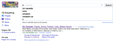Google Instant - A is for Air Canada